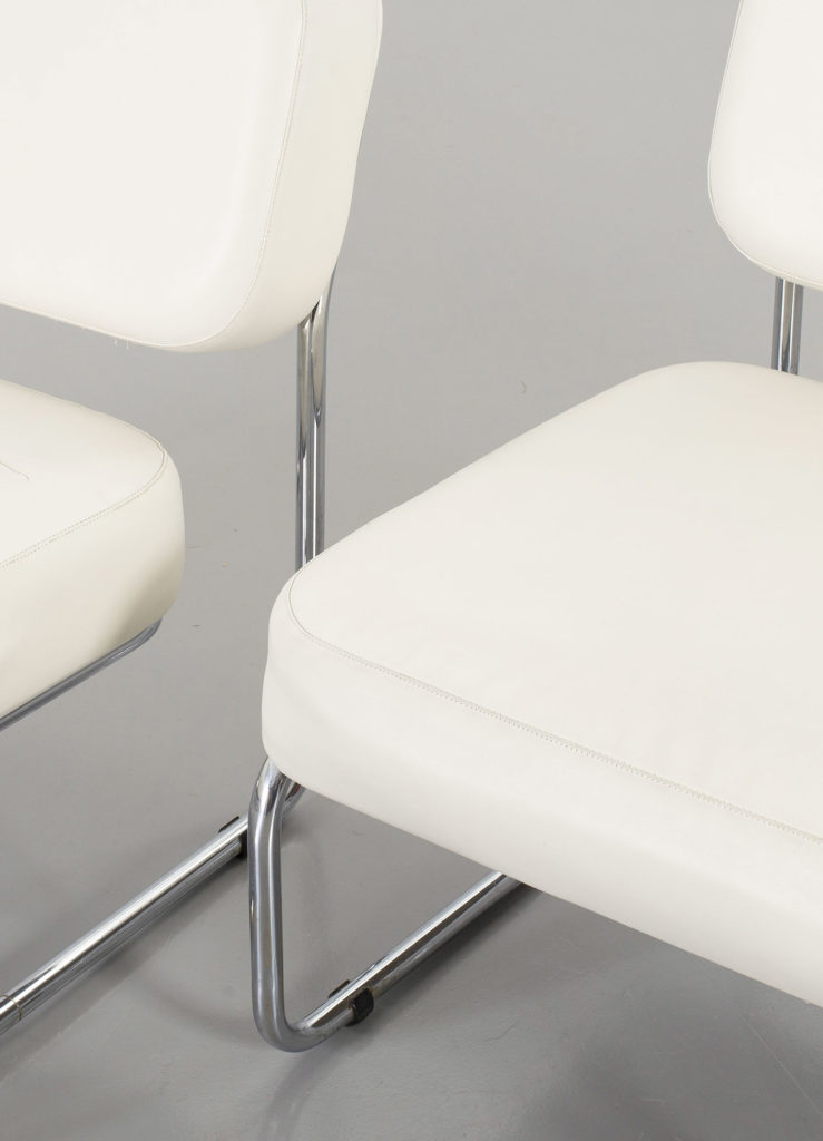 Italian white leather chairs