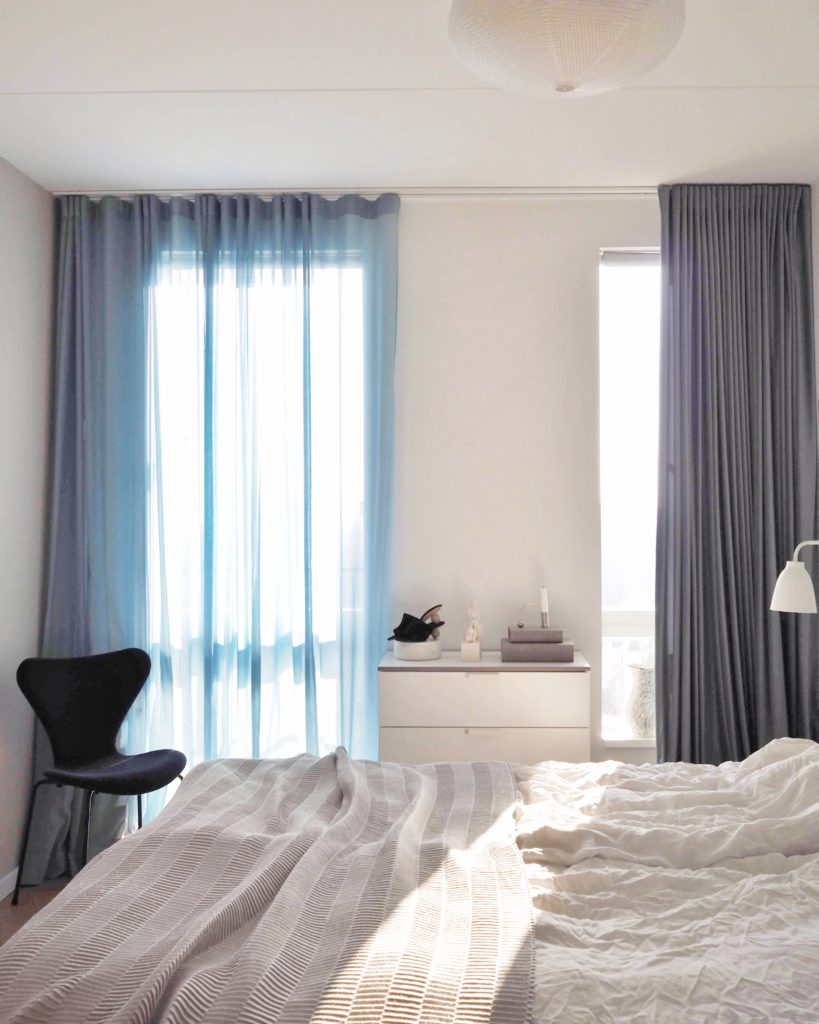 New blue curtains in my bedroom from Arne Aksel
