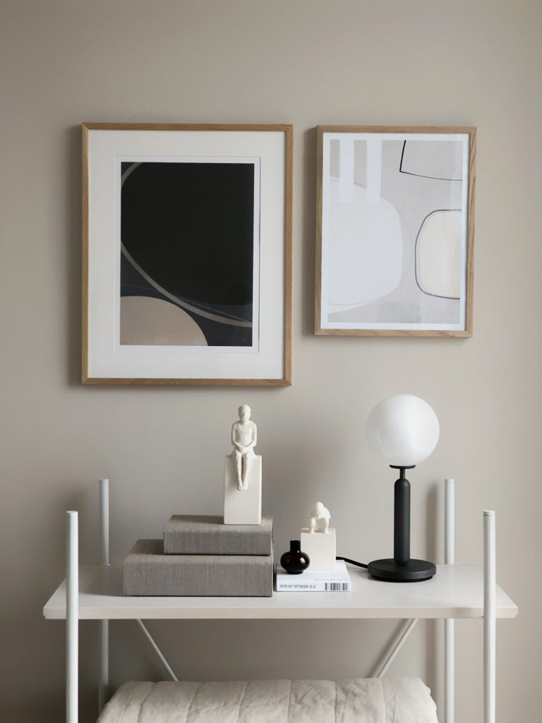 o create that perfect gallery wall at home, you only need a few things. Some beautiful artwork, frames to go with it and the right place to hang them. I have created my gallery wall with the focus on abstract and organic shapes.