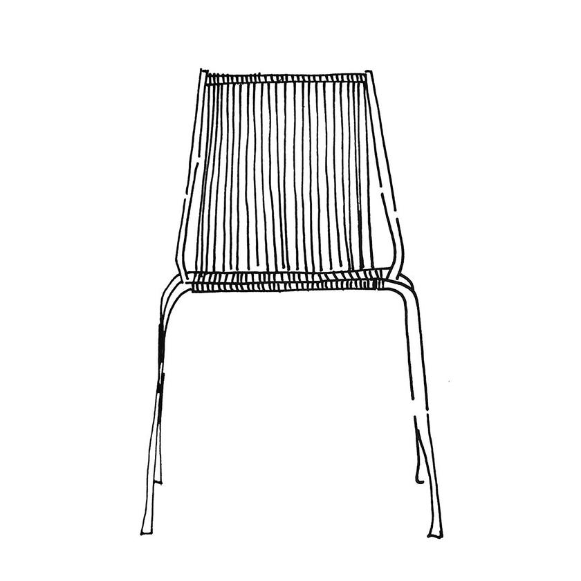 Noel chair from Thorup Copenhagen Noel Chair er baseret på et minimalistisk designprincip, med fokus på at skabe et stringentmøbel med en synlig og letforståelig konstruktion. Kontrasten mellem det simple stel af stål og det håndflettedesæde og ryg, repræsenterer essensen af stolen og skaber en interessant effekt.